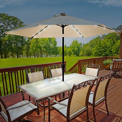 Sorbus Led Outdoor Umbrella: Sorbus LED Outdoor Umbrella, 10 Ft Patio Solar Power, With