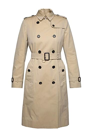 3dc5b8cf6e6c BURBERRY Women's 400690570500 Beige Cotton Trench Coat: Amazon.co.uk:  Clothing