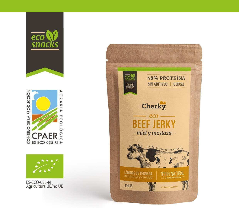 Cherky Eco Beef Jerky Miel y Mostaza. Snack Saludables ...