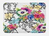 Lunarable Flower Bath Mat, Vivid Colorful Garden Print Blossoming Wildflowers Birds Leaves Branches, Plush Bathroom Decor Mat with Non Slip Backing, 29.5' X 17.5', Rainbow