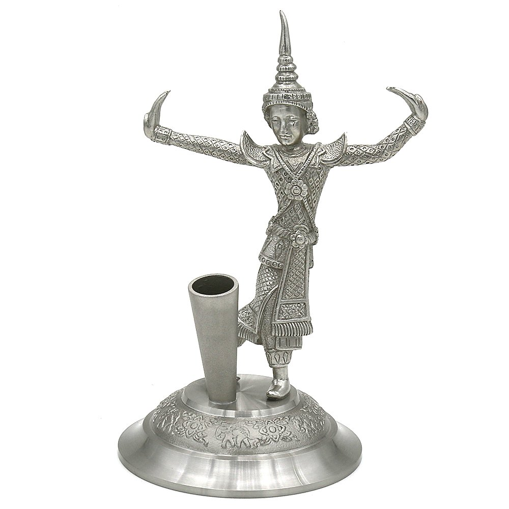 Oriental Pewter - Single Pen/Pencil Stand Holder - Pure Tin 97% Lead-Free Pewter PH25 Hand Carved Beautiful Embossed Handmade in Thailand by Oriental Pewter