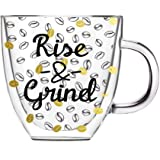 Cypress Home Rise & Grind Glass Coffee Cup, 12 ounces