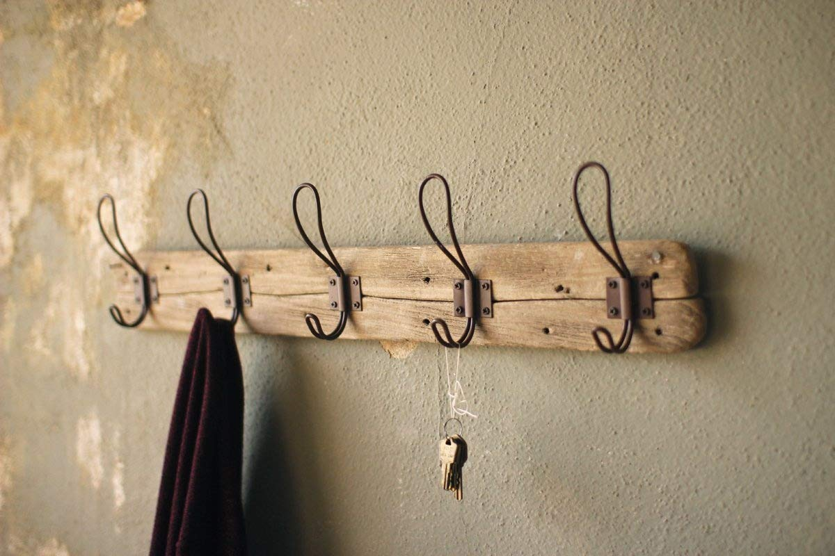 Rustic Style 5 Hook Wall Mount Wooden Coat Rack,