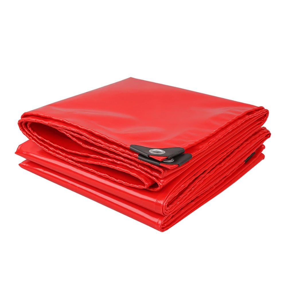 HQCC Verdicken Sie Hochleistungsplane-Wasserdichte Plane im Freien PVC-regendichte Plane-Abdeckungen Markise Sun Shade - Rot, 520 G M² (größe   6x8m) B07PRMY3KJ Zeltplanen Moderner Modus