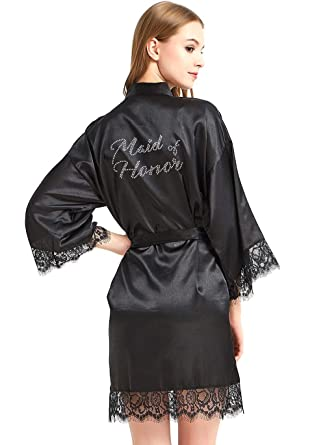 e81998928a9 WPFING Maid of Honor Robe Lace Bridal Party Robes Rhinestone Satin(Maid of  Honor Black