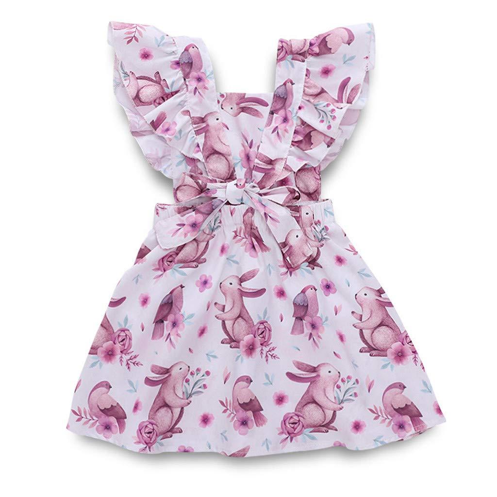 Easter Toddler Kids Baby Girls Print Cartoon Rabbit Floral Casual Princess Cute Dress