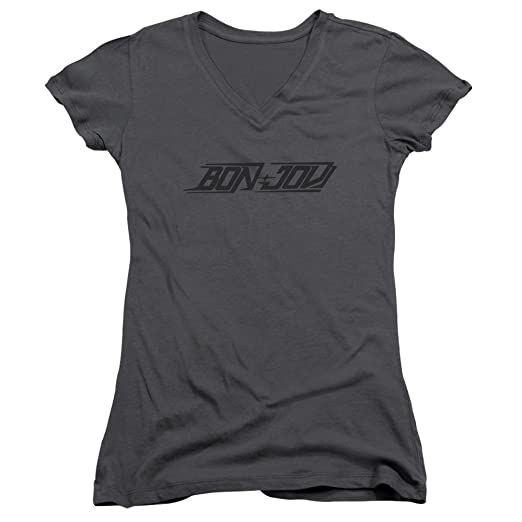 ee97a8f6eaf56e Amazon.com  A E Designs Juniors Bon Jovi T-shirt New Logo V-neck ...