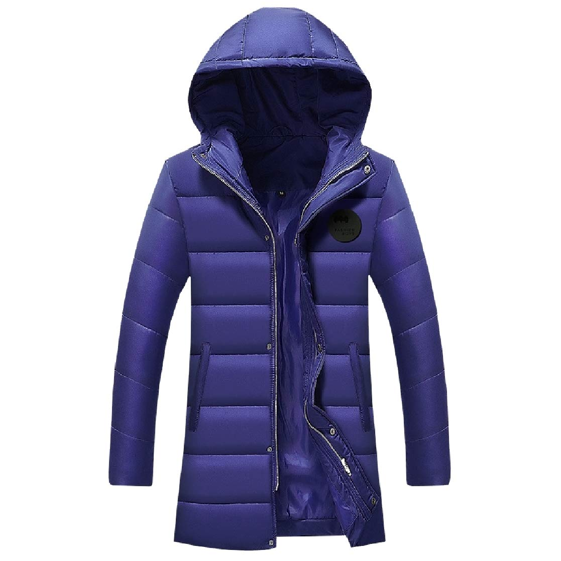 YUNY Men Warm Mid-Long Hood Plus Size Windproof Puffer Jacket Blue L