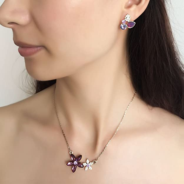 Engagement & Wedding Bridal & Special Ocassion Austrian Crystal Amethyst Stud Dangle Earrings Sophisticated Technologies Jewelry & Watches