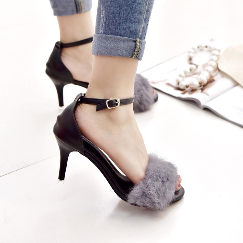 db2470d52b387 Amazon.com: Ecurson Womens Ladies Block Chunky High Heel Sandals ...