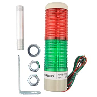 Nxtop Industrial Signal Light Column LED Alarm Round Tower Light Indicator Warning Light Red Green Steady On DC 12V