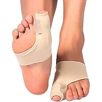 Enderezadora del dedo del pie del corrector del juanete, férula del dedo gordo del pie, funda de soporte de los protectores del juanete, con almohadilla de gel y separadores para el alivio del dolor Hallux Valgus 1 par