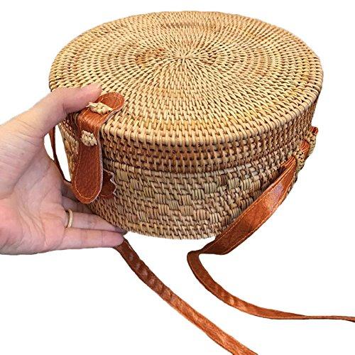 Petit À Femme Les Plage Rotin Sac Bali De Fait Cercle Crossboday Bohème Meaeo Bandoulière Bag Main Vintage D'Été Femmes Sacs Paille SdxqXPUz