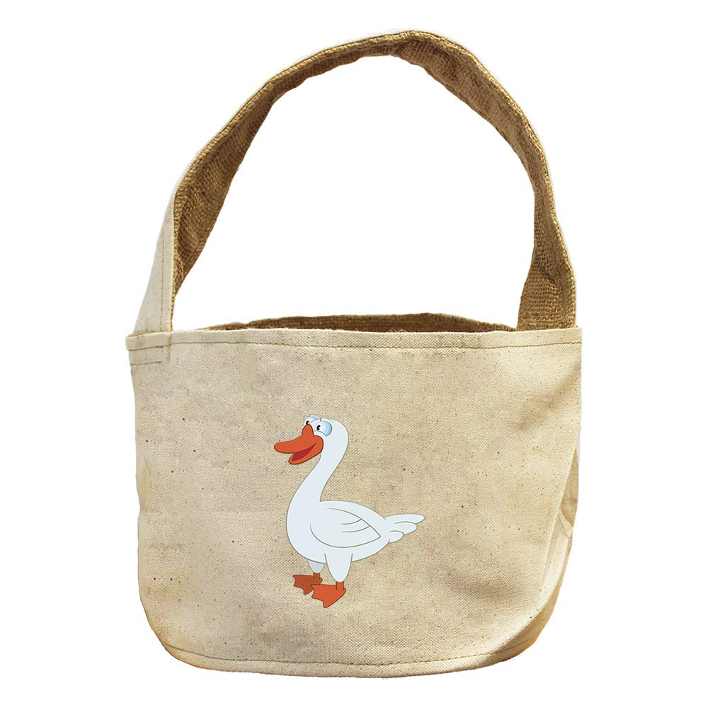 Style in Print Duck White Animals Canvas and Burlap Storage Basket