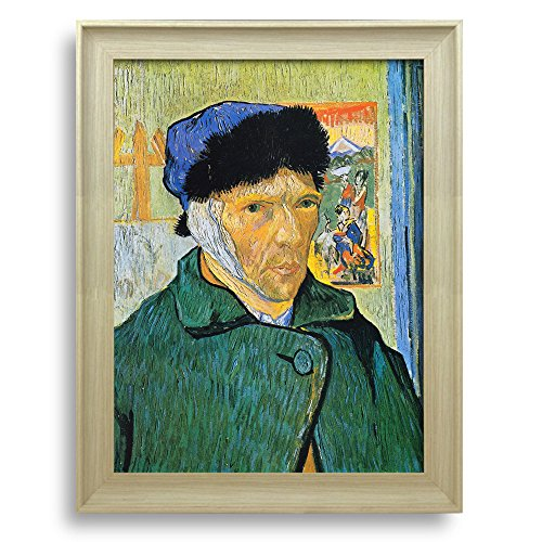 Self Portrait with Bandaged Ear by Vincent Van Gogh Framed Art Print Famous Painting Wall Decor Natural Wood Finish Frame