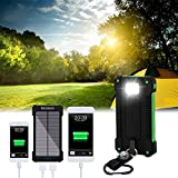 YOUNGFLY 20pcs Dual 20000mAh Solar Charger Sunpower Panel Power Bank Waterproof, Dust-Proof and Shock-Resistant Led Light, With Compass + USB Cable + Hook (Green)