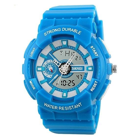smosee® Skmei niño Niña impermeable de los deportes analógico Digital reloj de pulsera (azul