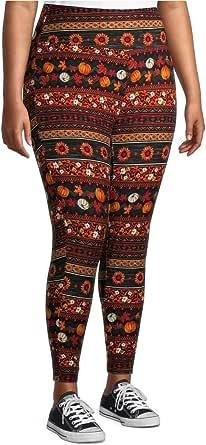 Terra & Sky Women's Plus Harvest Stripe Soft High Rise Leggings