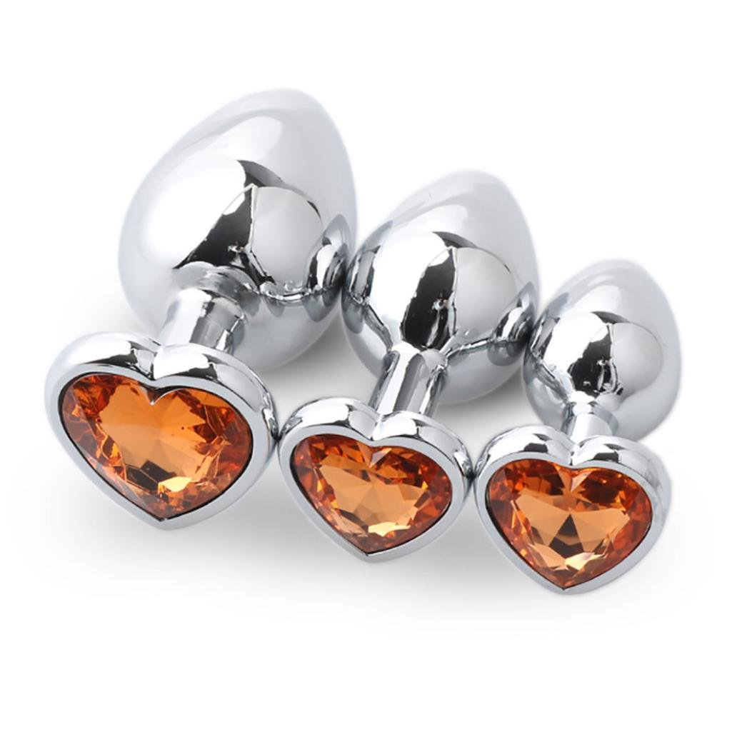 Yoyorule 3 Pcs Heart Shaped Butt-Anal-Play Sex Base with Jewelry Birth Stone G-spot Rose Jewel (Gold)