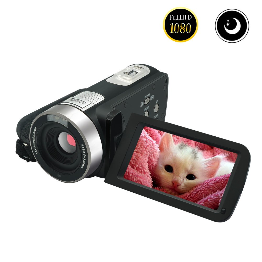 Video Camcorder Full HD 1080p 30fps Video Camera Night Vision 24.0MP Webcam 3'' Touchscreen Digital Video Recorder