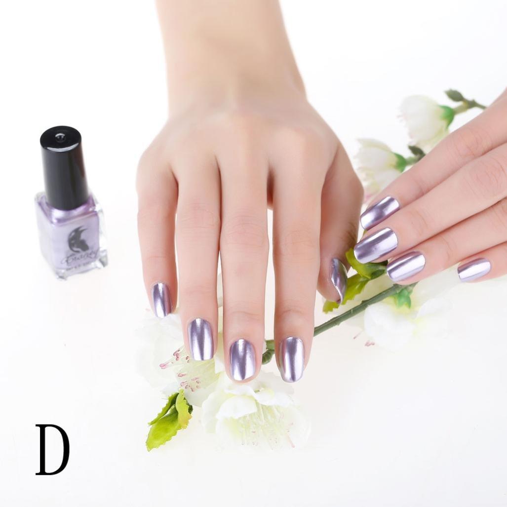 Mirror Nail Polish, CieKen Plating Silver Paste Metal Color Mirror Long lasting Nail Polish For Makeup Polish Nail Painting Art (D)