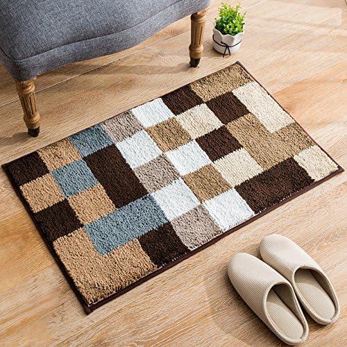 ChezMax Non-Slip Doormat Indoor Outdoor Floor Rug Front Door Mat Rectangle Carpet Checked Brown 19.7 X 31.5