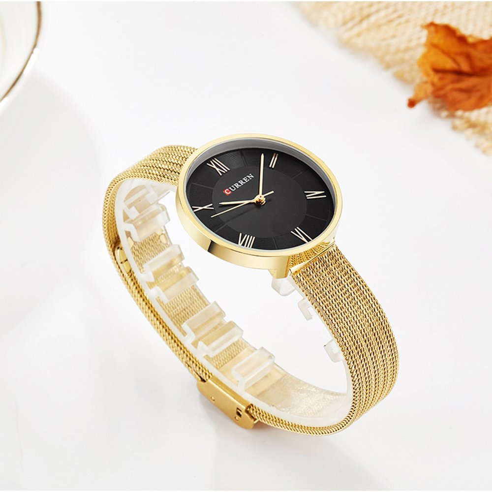 New CURREN Women Watches with Steel Band Quartz Roman Scale Waterproof Top Brand bracelet watch9020 (gold) by CURREN (Image #4)