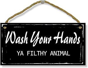VAVD 5 x 10 Inch Bathroom Sign - Wash Your Hands Ya Filthy Animal Wood Home Decor Decorative Funny Sign