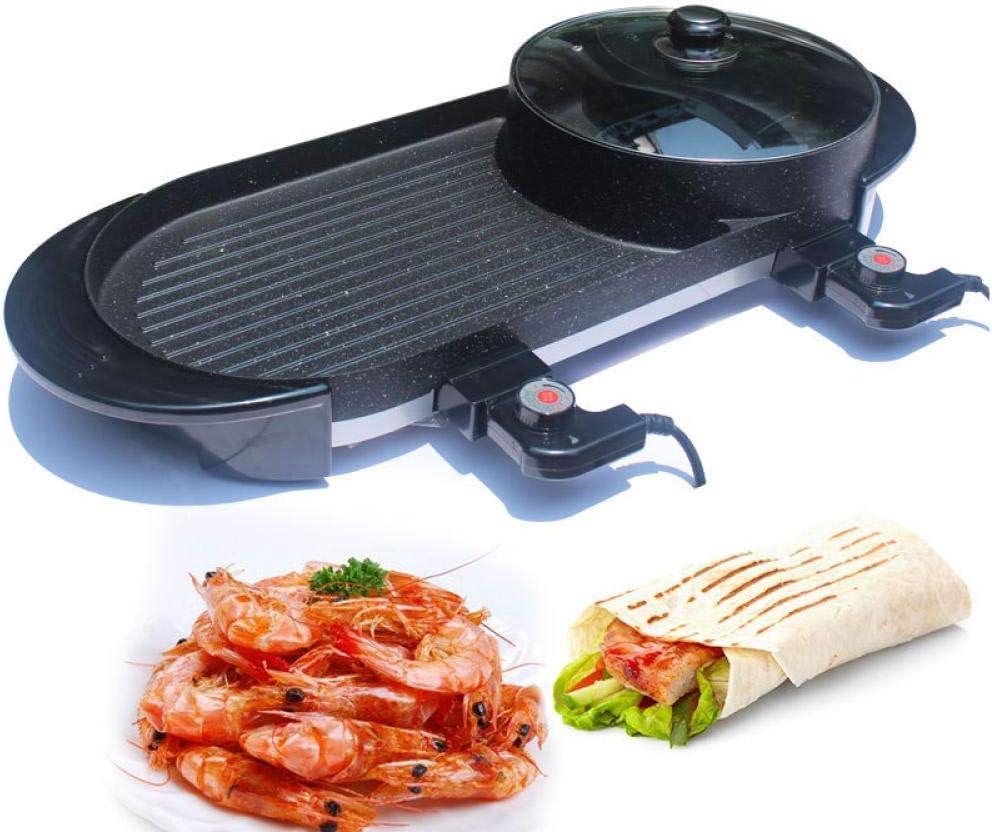 Poêle à Frire pour Barbecue Multifonction à Usage Domestique Barbecue à Double Usage Hot Pot One Pot électrique Hot Pot électrique de Cuisson électrique European Regulations