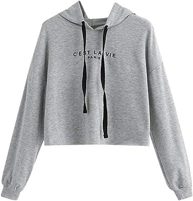 Women Hoodie Sweatshirt Long Sleeve Letter Jumper Pullover Casual Cropped Tops