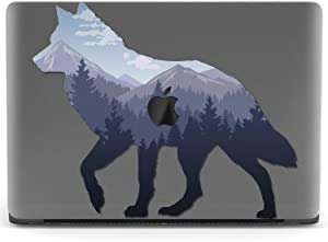 Mertak Hard Case for Apple MacBook Pro 16 Air 13 inch Mac 15 Retina 12 11 2020 2019 2018 2017 Cover Shell Mountains Wolf Design Wilderness Forest Protective Touch Bar Animal Landscape Clear Plastic