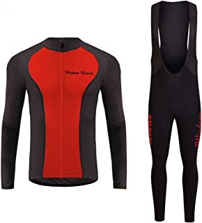 Wisdom leaves Men Cycling Jersey Sets LongSleeveQuickDry Bicycle Jackets& Padded Tights