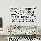 Diggoo Be Strong and Courageous Joshua 1:9 Scripture Wall Decal Arrow Mountains Forest Nursery Kids Room Decor (Black,17'' h x 30'' w)