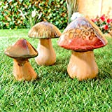 Ceramic Mushrooms Toadstools Pottery Garden Indoor Outdoor Ornaments Set Of 3