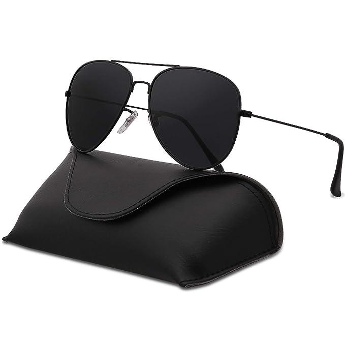 a01e116d9e SojoS Classic Aviator SJ1054 - anteojos de sol polarizadas con espejo  UV400, C1 Black Frame