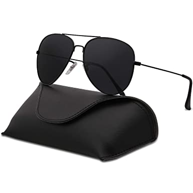 d2cdfafdcf SojoS Classic Aviator Polarized Sunglasses Mirrored UV400 Lens SJ1054 (C1 Black  Frame Grey Lens