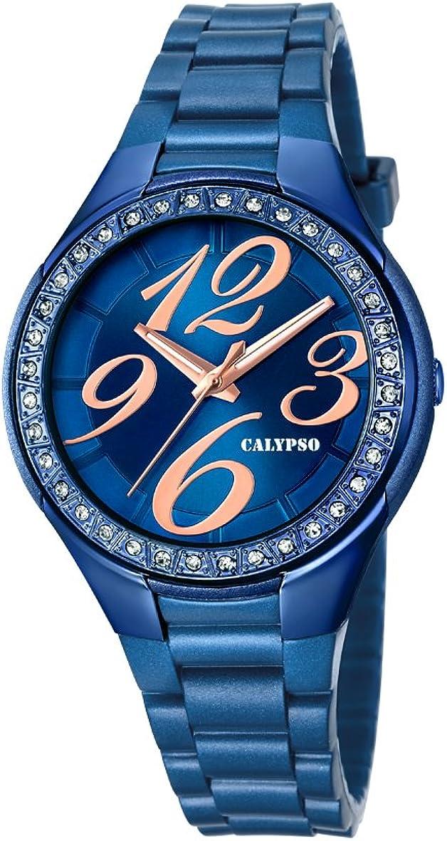 Calypso–Reloj de Mujer de Cuarzo con Esfera Analógica Azul Pantalla y Pulsera Azul de plástico K5637/A