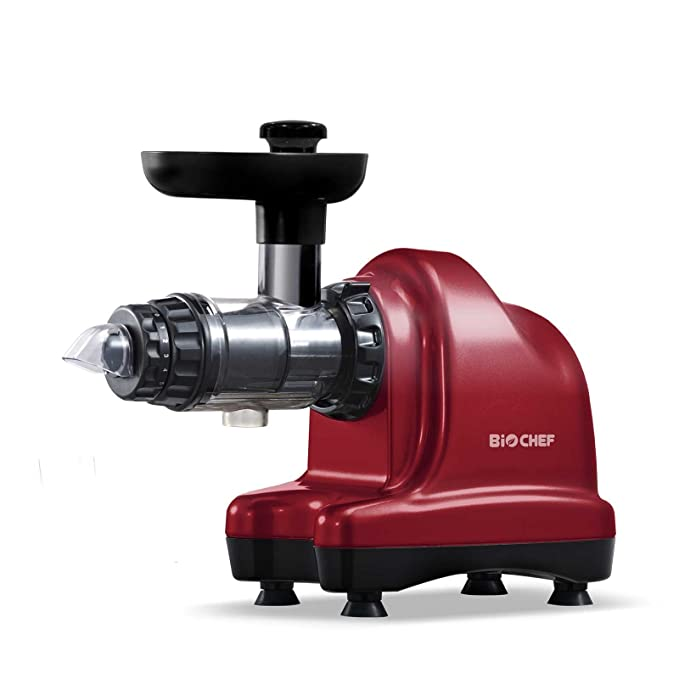 BioChef Axis Cold Press Juicer/Horizontal Masticating Juicer (Wide Mouth) with 20 Year Warranty for Wheat Grass, Fruits & Vegetables (Red)