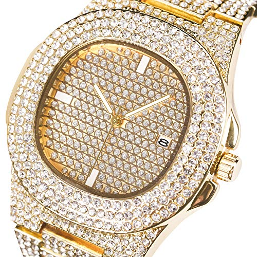 Men Iced Out Watch Costume Luxury Bling Double Daul Rhinestone Bezel Silver Tone Watch (Fold Over Clasp With Hidden Double Push Button)