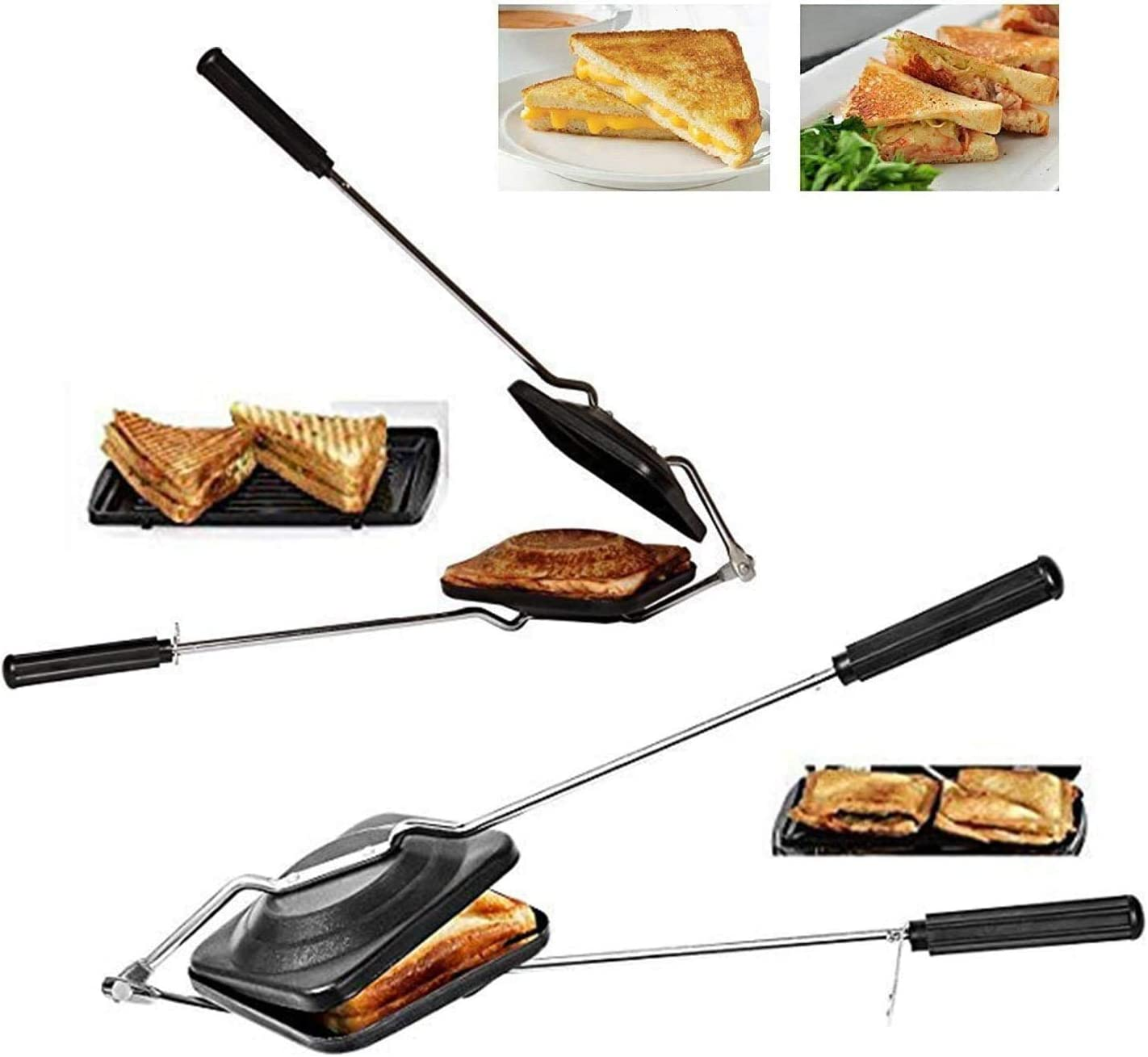 Sandwich Maker Sandwich Toaster Nonstick Sandwich Maker Sandwich maker pan Gas Sandwich Toaster Gas Sandwich Toaster Stove top Toasted Sandwich Snack Maker Nonstick Double Side Pressure Pan with Handles
