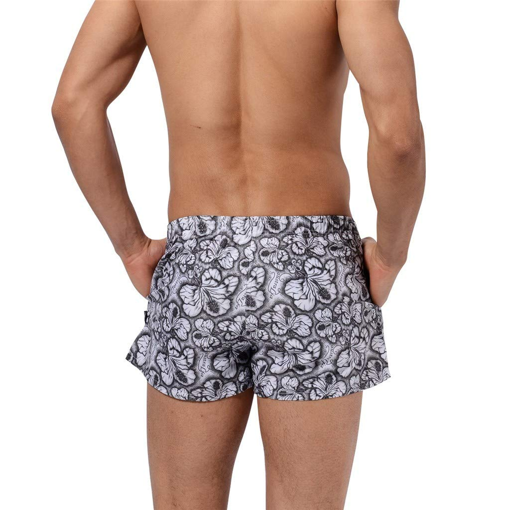 FINENICE Mens Quick Dry Short Swim Trunks Breathable Pants Beach Print Swimming Underwear