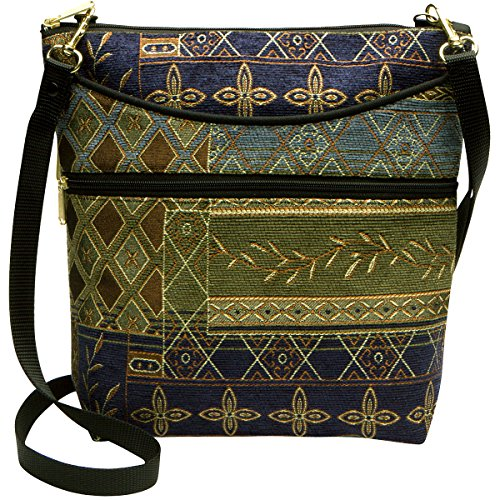 Danny K Women's Tapestry Bag Crossbody Handbag, Maggie Purse Handmade in the USA (Handbag Zipper Top Quilted)