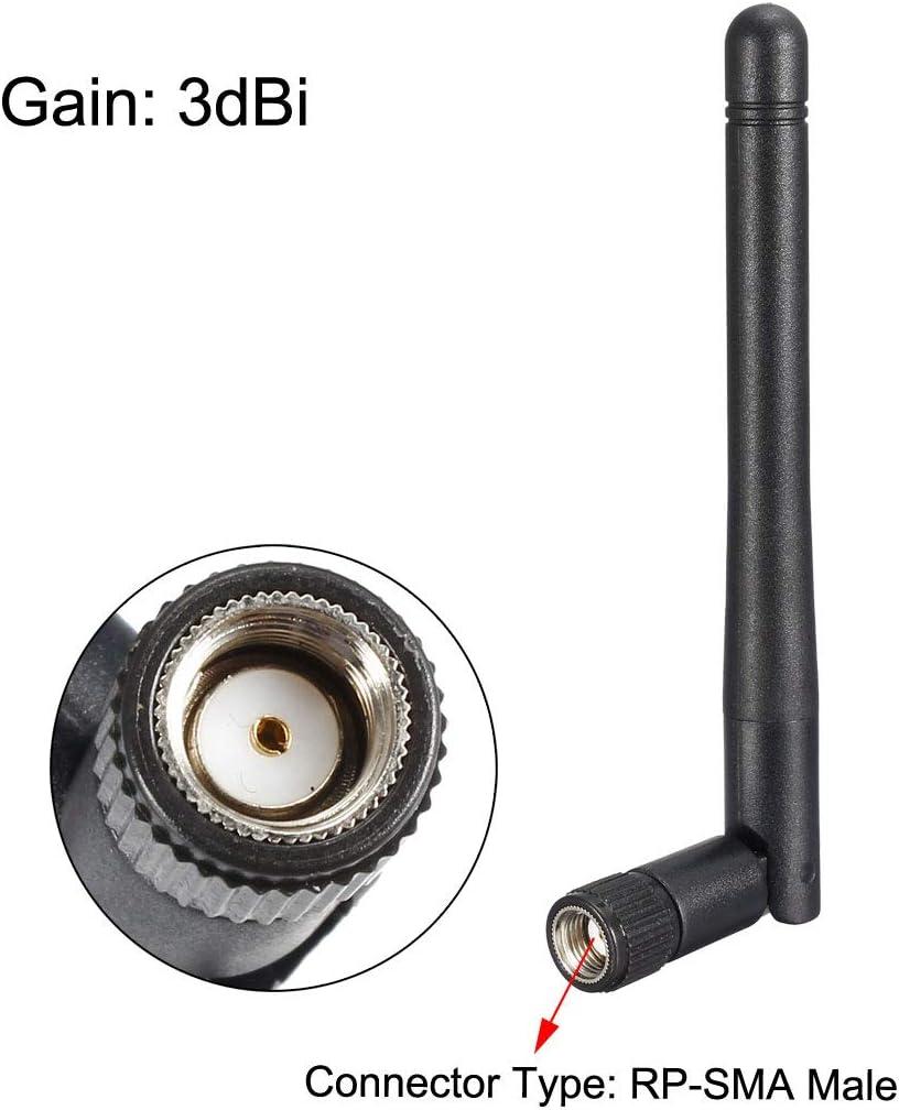 sourcing map WiFi Antena 3dBi Ganancia 2400-2500MHz RP-SMA Macho Conector Omnidireccional 109mm Plegable Negro Compatible con Bluetooth//Zigbee Antena