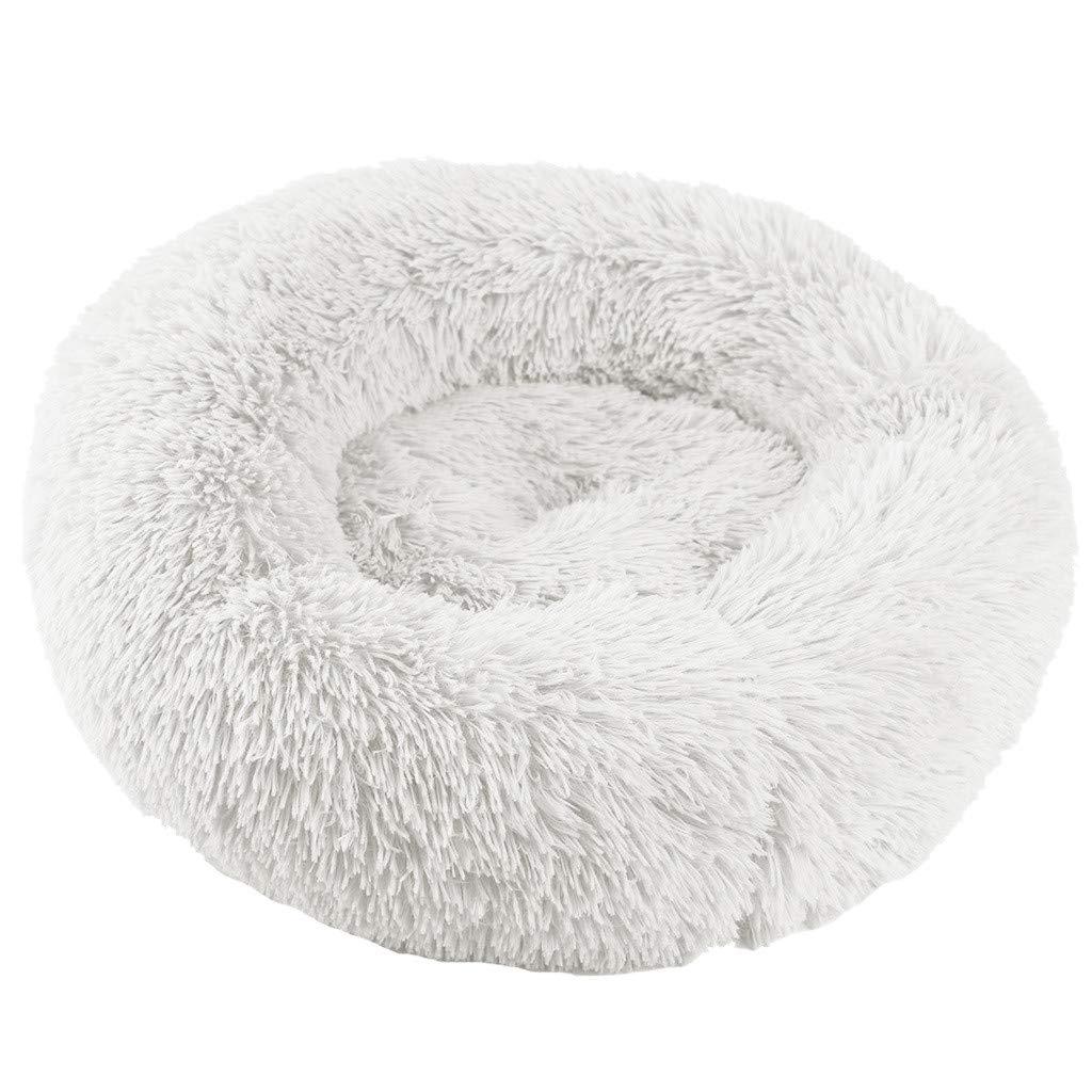 Yinoot Cama Suave Cama para Gatos Cama para Dormir C/ómoda Felpa Perrera Sue/ñO Profundo Redondo Saco de Dormir Nido para Mascotas M, Blanco