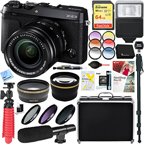 Fujifilm X-E3 24.3MP Mirrorless Digital Camera (Black) with XF 18-55mm Lens + 64GB SDXC Memory Card & Microphone Accessory ()