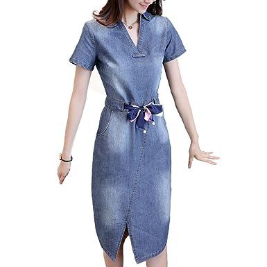 Dorkasde Damen Kleid Mädchen Jeanskleid Jeans Kleid Slim