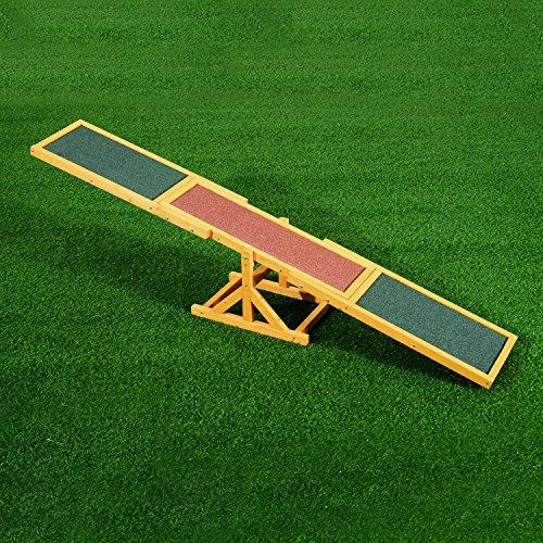 PawHut Wood Pet Seesaw Platform Dog Agility Training Equipment Run Game Toy Weather Resistant Pet Supplies