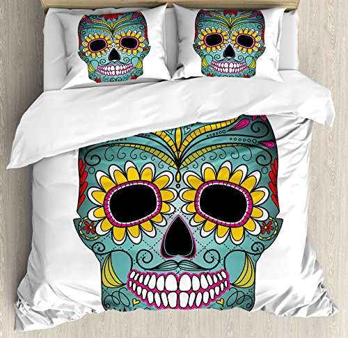 Sugar Skull Decor King Size Duvet Cover Set by Ambesonne, Folk Art Elements Featured Skull Day of the Dead Celebration Concept, Decorative 3 Piece Bedding Set with 2 Pillow Shams, Multicolor by Ambesonne