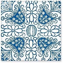 Talavera flor azul Ilustration patrón brillante azulejos de cerámica baño cocina pared piedra decoración de manualidades regalo, Pequeño