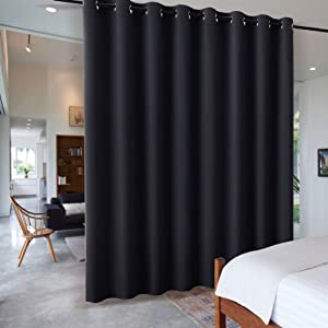 RYB HOME Extra Wide Long Curtain Privacy Office Space Divider Wall Panel, Portable Grommet Room Divider Curtain for Patio Sliding Glass Door Pool House, 9 ft Tall x 15 ft Wide, Black, 1 Pack